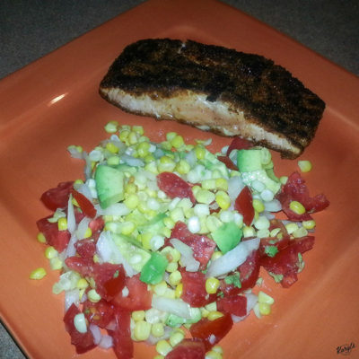 Blackened Salmon Tacos with Corn Salsa