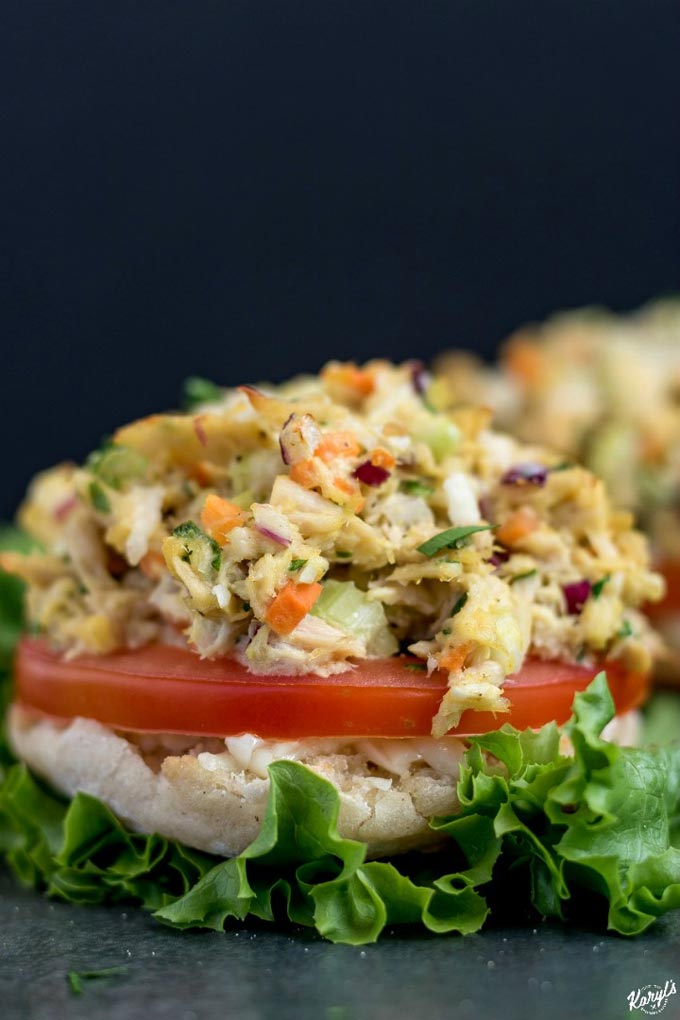 Close up shot of finished tuna melt on a bed of lettuce