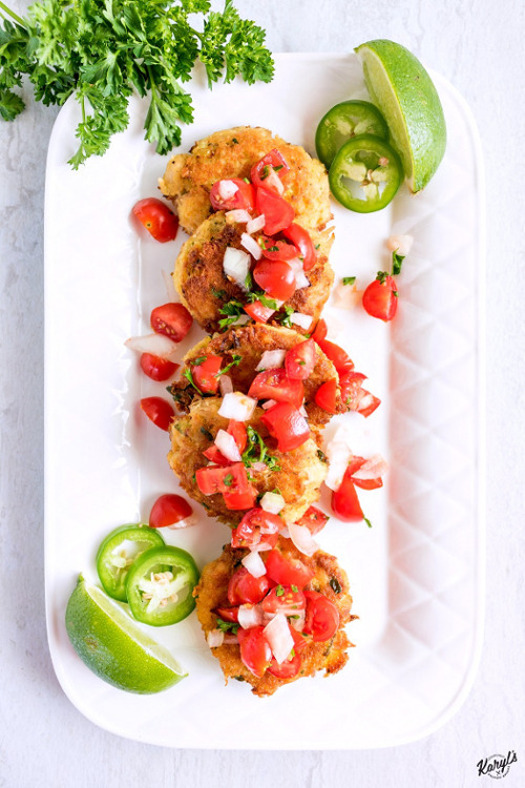 Tuna Cakes with Fresh Tomato Salsa is a light, fresh and delicious combination. Savory, pan-fried tuna cakes are topped with fresh tomato salsa, perfect for a light lunch or dinner #tuna #albacoretuna #tunacakes #seafood #tomatoes #salsa #freshsalsa #karylskulinarykrusade