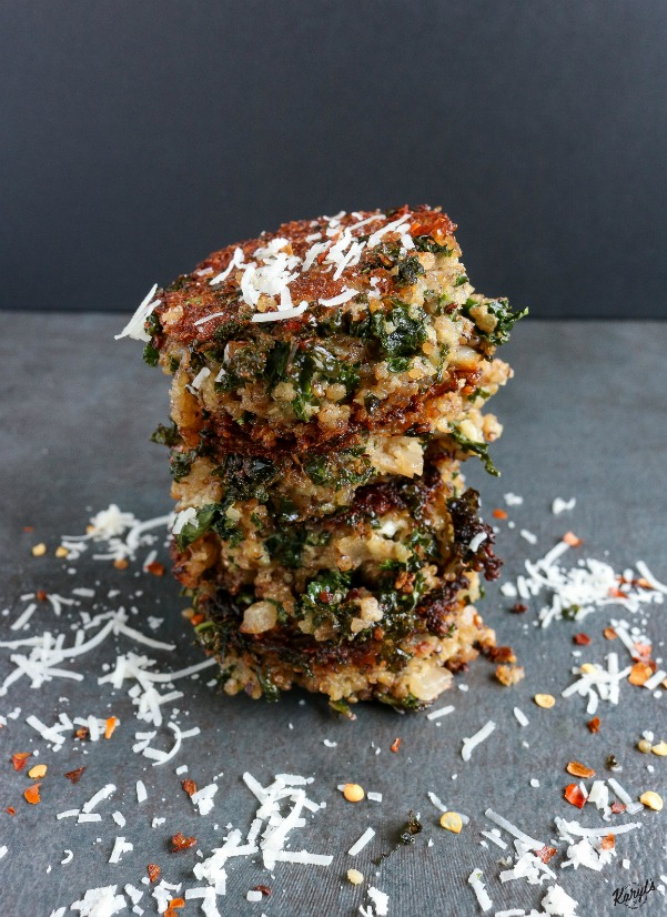 Kale and Quinoa Patties. A wonderfully flavorful combination of superfoods, these pan-fried patties are perfect for a hearty meal that will keep you satisfied for hours
