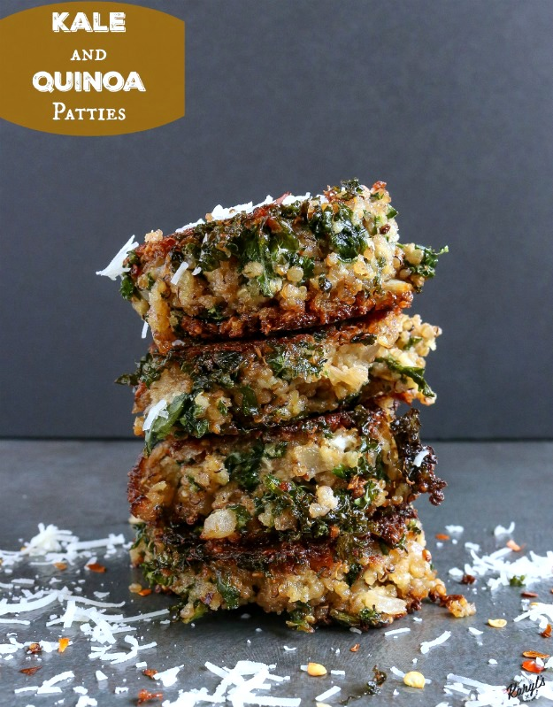 close up shot of 4 Kale & Quinoa Patties stacked with parmesan and red pepper flakes garnished
