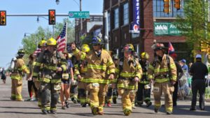 Firemen walking the half marathon in full gear - many of them run the first 1-2 miles!!