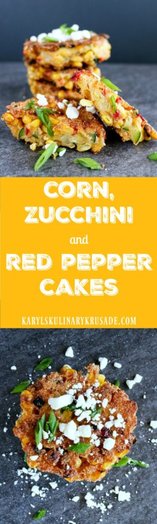 Corn, Zucchini and Red Pepper Cakes - Karyl's Kulinary Krusade