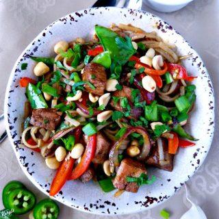 Hoisin Pork and Rice Noodle Stir Fry