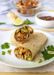 Asian-Chicken-Wraps-with-Thai-Peanut-Sauce