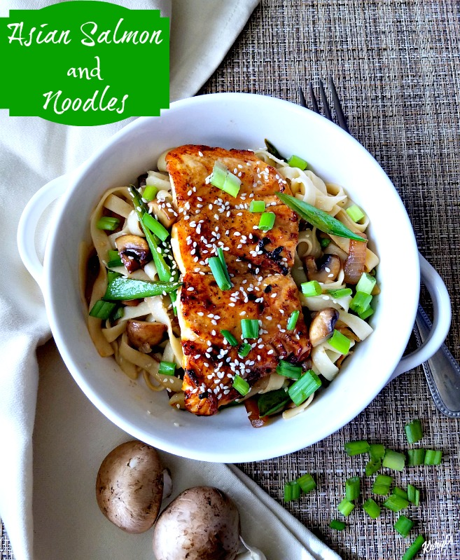 Asian Salmon and Noodles is a simple, elegant and mouthwatering dish. Sear the salmon, then finish under the broiler, for gorgeous color and deep flavor. Sauteed vegetables and fettucini make this a complete meal in every bite #salmon #broiledsalmon #seafood #vegetables #noodles #fettucini #asianinspiredsauce #karylskulinarykrusade