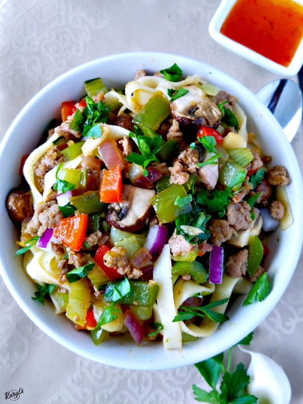Fettucini with Ground Turkey and Vegetables - Karyl's Kulinary Krusade