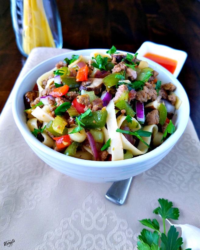 Fettucini with Ground Turkey and Vegetables - Karyl's Kulinary Krusade