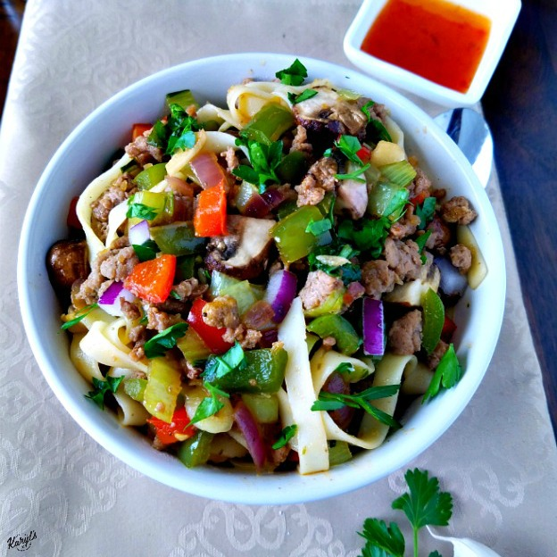 Fettucini with Ground Turkey and Vegetables