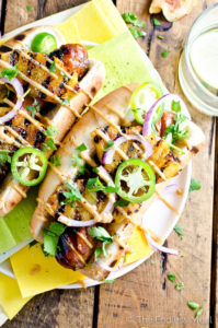 Hawaiian Hot Dogs with Grilled Pineapple & Teriyaki Mayo by The Endless Meal