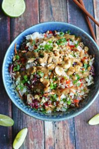 Thai Cashew Coconut Rice with Ginger Peanut Sauce by Host the Toast