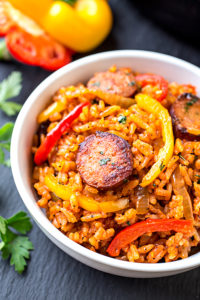 Smoked Sausage & Red Rice Skillet by The Cozy Apron