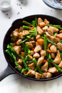 Asparagus Sweet Potato Chicken Skillet by Primavera Kitchen