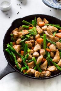 Asparagus Sweet Potato Chicken Skillet by Primavera Kitchen