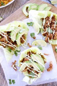 Chipotle Pulled Pork Lettuce Wraps with Avocado Aioli by Fashionable Foods