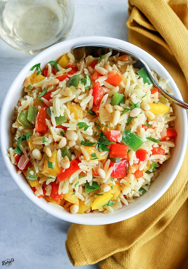 Orzo with Onions, Garlic and Peppers - Karyl's Kulinary Krusade