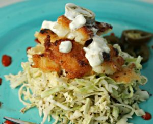 Paleo Fish Tacos with Spicy Cabbage Slaw by The Happy Housewife