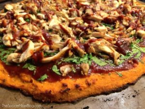 Barbecue Chicken Pizza with Sweet Potato Crust by The Soccer Mom Blog