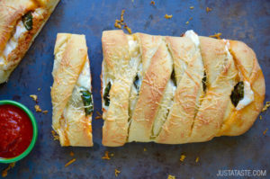 Easy Cheesy Chicken Stromboli by Just a Taste