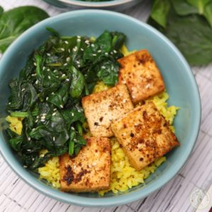 Simple Spinach Tofu with Tumeric Rice by Colorful Recipes