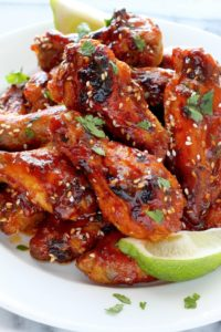 Sweet and Spicy Sriracha Baked Chicken Wings by Baker by Nature