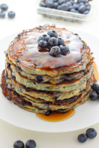 Blueberry Cottage Cheese Pancakes by Baker by Nature
