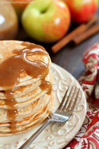 Applesauce Pancakes with Cinnamon Syrup by Yummy Healthy Easy