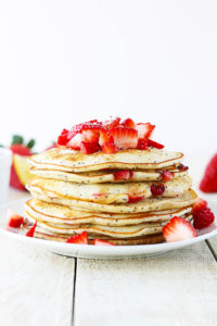 Strawberry Lemon Poppyseed Pancakes by Creme de la Crumb