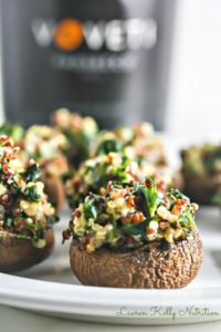 Quinoa Spinach Stuffed Mushrooms by Lauren Kelly Nutrition