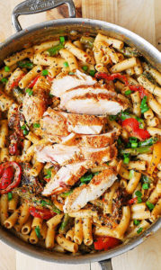 Creamy Chicken Alfredo Pasta with Bell Peppers, Asparagus & Sun Dried Tomatoes by Julia's Album
