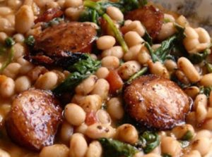 White Beans with Spinach & Sausage by Just a Pinch