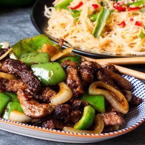 Black Pepper Steak with Chili Lime Noodles by Kitchen Sanctuary