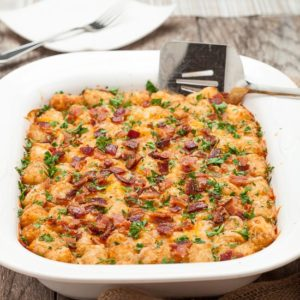 Cheesy Tater Tot Breakfast Casserole by Chew Out Loud