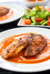 Parmesan Crusted Tilapia with Roasted Red Pepper Sauce by Recipe Runner