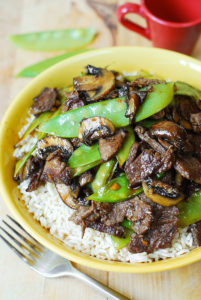 Asian Beef with Mushrooms and Snow Peas by Julia's Album