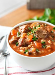 Slow Cooker Beef Barley Soup by Laughing Spatula