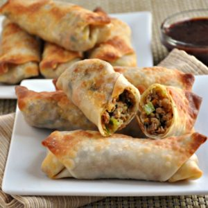 Pork and Vegetable Crispy Baked Egg Rolls by Pinch and Swirl