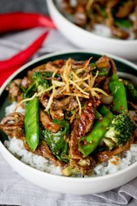 Spicy Ginger Beef Stir Fry by Nancy's Kitchen Sanctuary