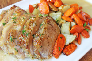 Brown Sugar Garlic Pork with Carrots & Potatoes by Dinner, Then Dessert
