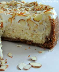 White Chocolate and Almond Amaretto Cheesecake by Cozy Country Living