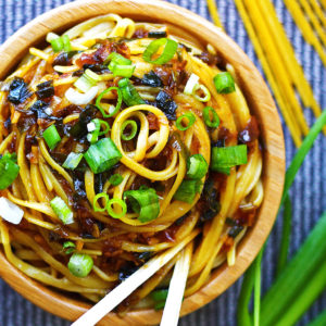 Sticky Garlic Noodles by Kelley and Cricket