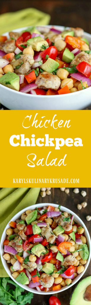 Chicken Chickpea Salad is a delicious combination of hearty chickpeas, grilled chicken, silky avocados and veggies. Finish with a drizzle of high-quality balsamic vinegar for a perfect complete meal #chickpeas #garbanzos #garbanzobeans #chickpeasalad #avocado #chicken #grilledchicken #tomatoes #bellpeppers #vinaigrette #balsamicvinegar #salad #healthy #glutenfree #karylskulinarykrusade