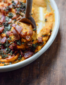 Bourbon Bacon Whipped Sweet Potatoes by How Sweet It Is