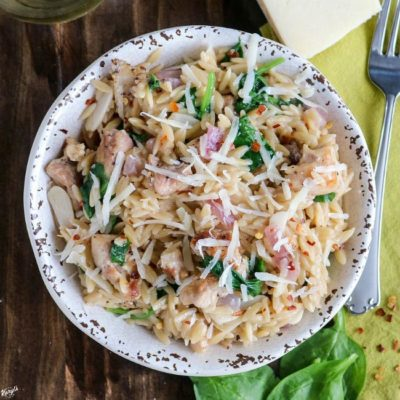Peppery Parmesan Grilled Chicken Orzo