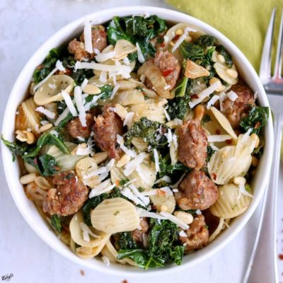 Orecchiette with Sausage, Sausage, Kale, Garlic and Pine Nuts