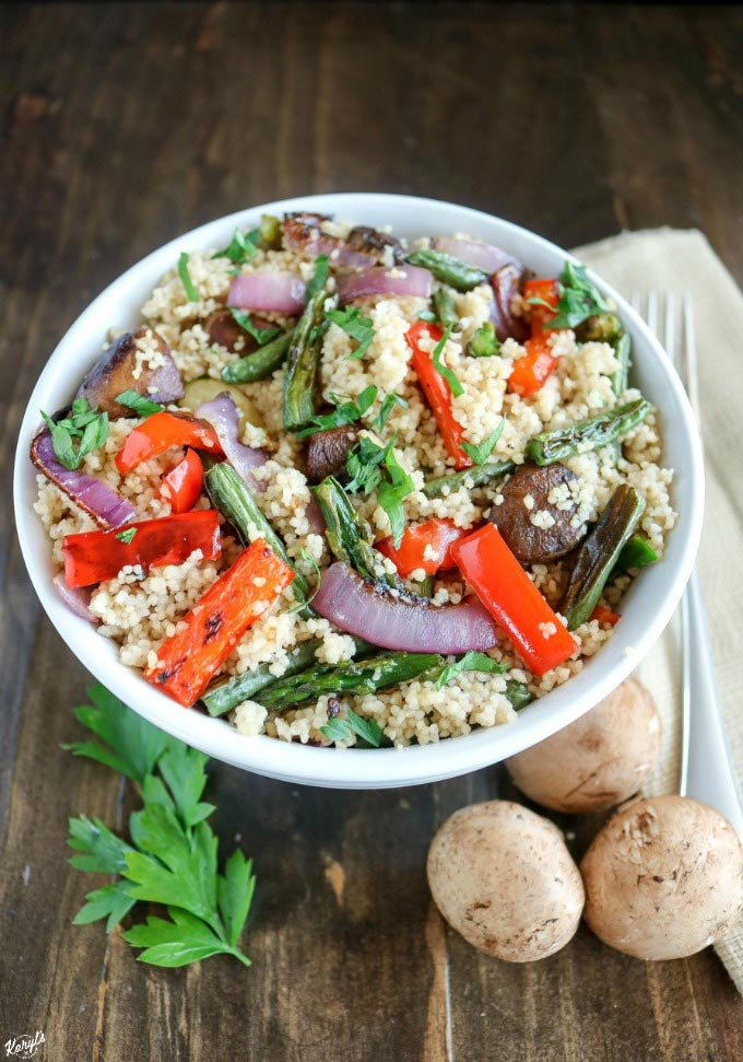 Roasted Vegetable Couscous is an easy and delicious side dish. The couscous is ready in minutes, and when combined with roasted vegetables, every bite explodes with flavor #roastedvegetablecouscous #couscous #roastedvegetables #vegetables #vegetarian #sidedish #karylskulinarykrusade