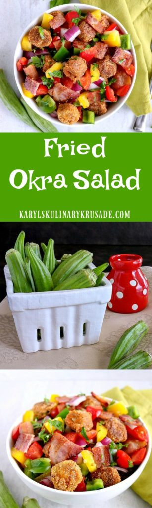 If you think you don't like okra, you haven't tried it fried! My Fried Okra Salad combines crunchy pan-fried okra, peppers, onions, tomatoes & bacon to create a wonderful mix of flavors, textures and colors. Finish with a drizzle of balsamic vinegar for a wonderful dish your family will love #okra #friedokra #summersalad #friedokrasalad #bacon #betterwithbacon #bellpeppers ##karylskulinarykrusade