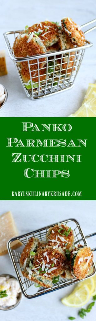Panko Parmesan Zucchini Chips are the perfect side dish, snack, or party appetizer! Sliced zucchini, pan-fried till golden brown will be the star of your table #zucchini #breadedvegetables #vegetables #vegetarian #meatless #hotsauce #fingerfood #appetizer #panfried #karylskulinarykrusade