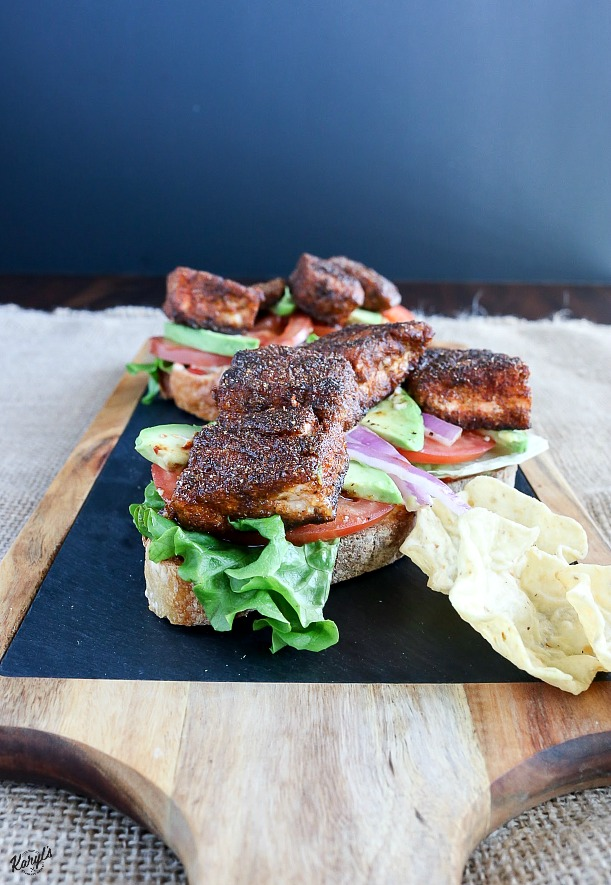 Open Faced Blackened Salmon Sandwich by Karyl's Kulinary Krusade