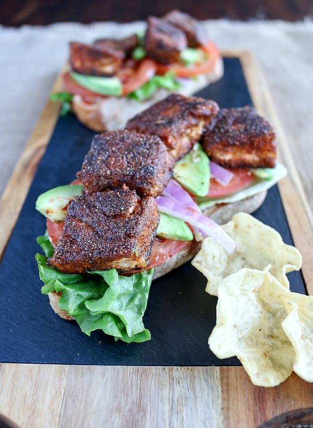 Open Faced Blackened Salmon Sandwich - Karyl's Kulinary Krusade